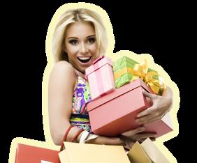 Девушка с подарками рисунок 884
